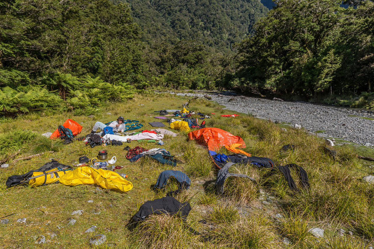 Our bivvy site in the Transit River flats, just below the non-existent Hoani Falls