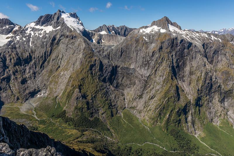 Poseidon Creek valley head: Llawrenny Peaks, Lake Terror and Terror Peak