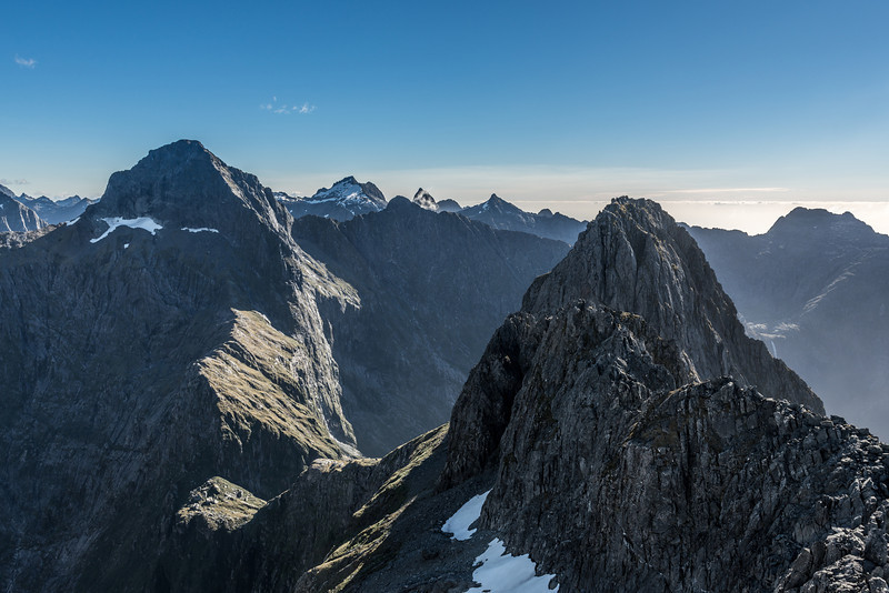 """Mount Danger (left) and """"Mount Tusk"""" (Pt 1633m, in the foreground) from Pt 1632m above Lake Liz, Transit River"""