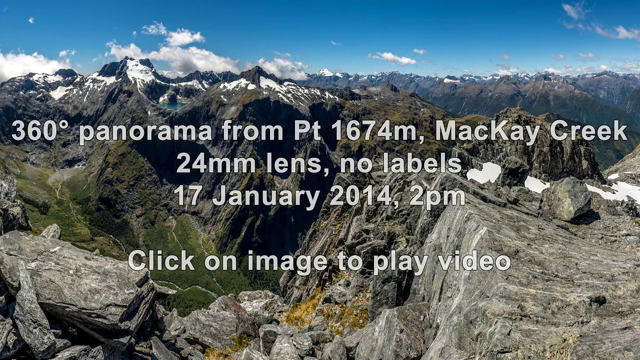 "360° panorama from ""The Watchtower"" (Pt 1674m), MacKay Creek"