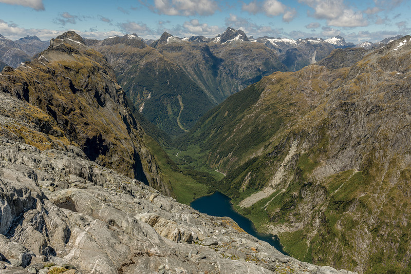 """View down MacKay Creek from the shelves below """"The Watchtower"""" (Pt 1674m). Steep Hill is on the left; Mt Kepka and Mt Elliot are at centre image"""