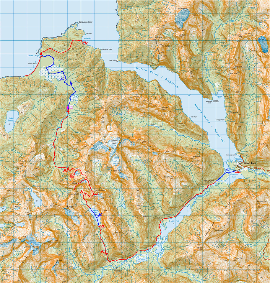 "Trip map. 1 grid square = 1km. Left click on map then select ""Sizes -> Original"" in bottom right corner of screen to view full size.<br><br> A few unofficial names were added to this map. Some are in common use (Lake Liz, MacKay Lake, Lake Terror). Some were proposed by Rhys Buckingham after his first forays into the area (Matawai Falls, Sharks Fin, Mount Tusk, Safe Mountain - see NZAJ 1973). Some were proposed by our party (The Watchtower, Disgusting Saddle)."