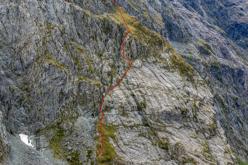 Our route through the MacKay Creek headwall