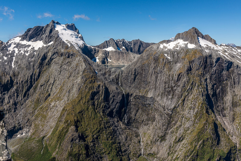 The Llawrenny Peaks and Terror Peak, with the highest waterfall in New Zealand at centre image