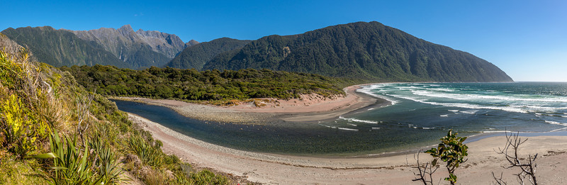 Transit River mouth and Transit Beach. Unnamed Peak Pt 1750m just north of the Llawrenny Peaks dominates the scene left of centre image