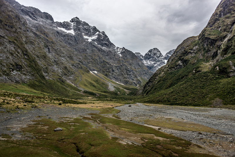 The Marian Valley above Lake Marian. Mt Crosscut, Marian Peak, Sabre Peak, Adelaide Peak