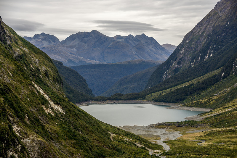 Lake Marian and the Ailsa Mountains. Jean Batten Peak at centre image
