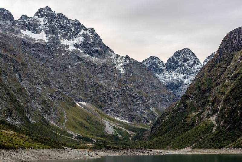Mt Crosscut, Marian Peak, Sabre Peak and Adelaide Peak above Lake Marian