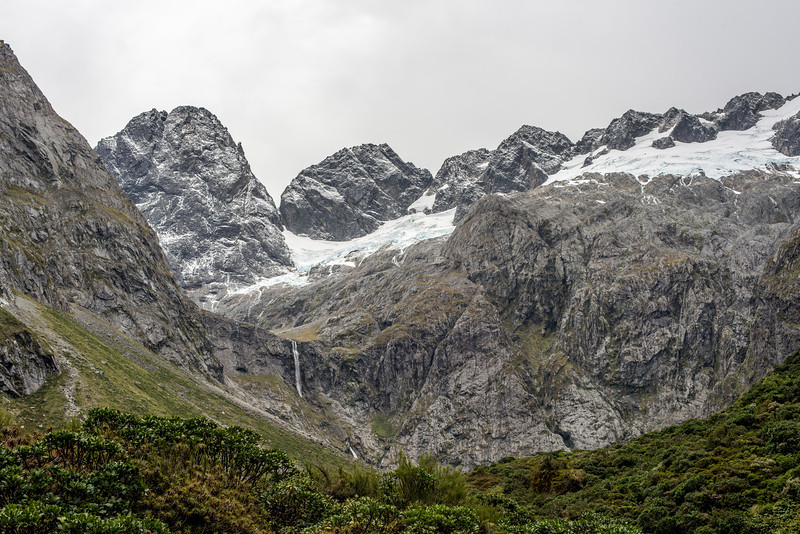 Sabre Peak and Adelaide Peak above the Lyttle Falls, Marian Creek