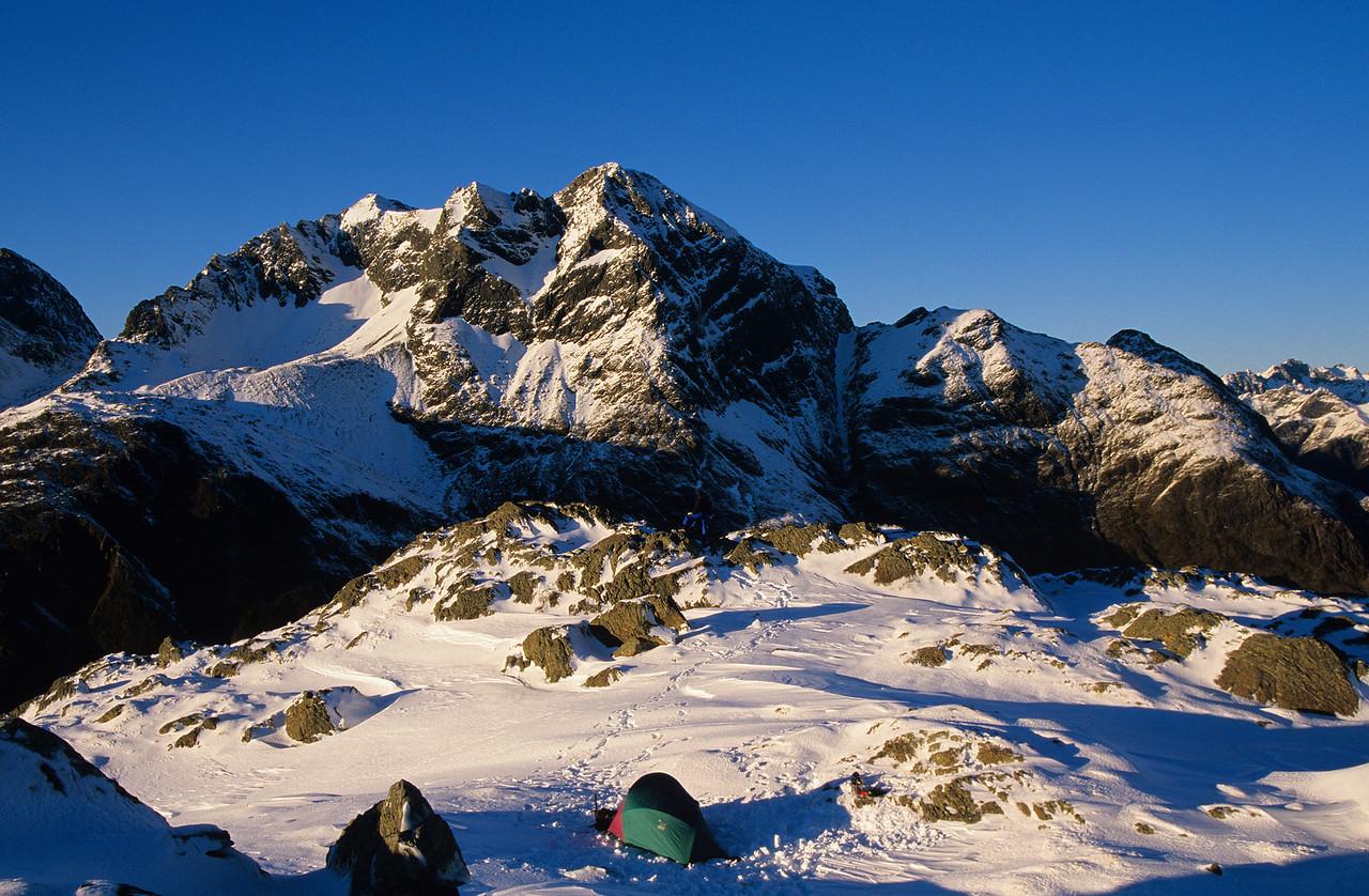 Campsite on peak 1449. Jean Batten Peak in the back