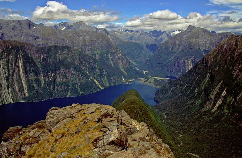 Milford Sound from the south-east ridge of Mitre Peak.