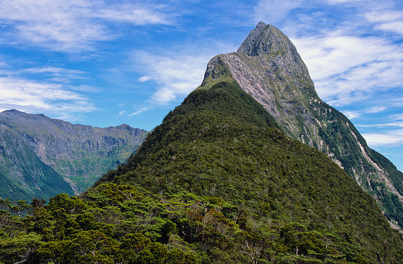 Looking up the south-east ridge of Mitre Peak from Footstool