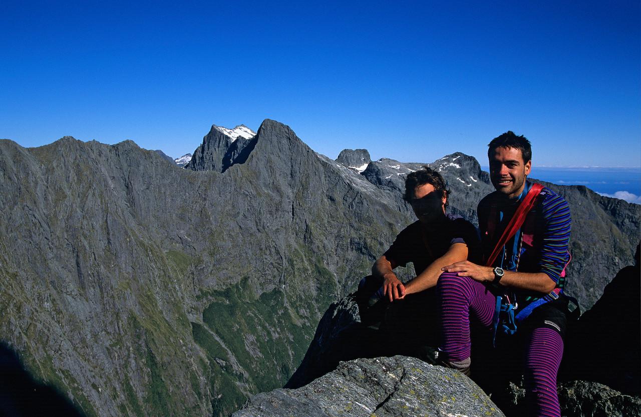 On the summit of Mitre Peak