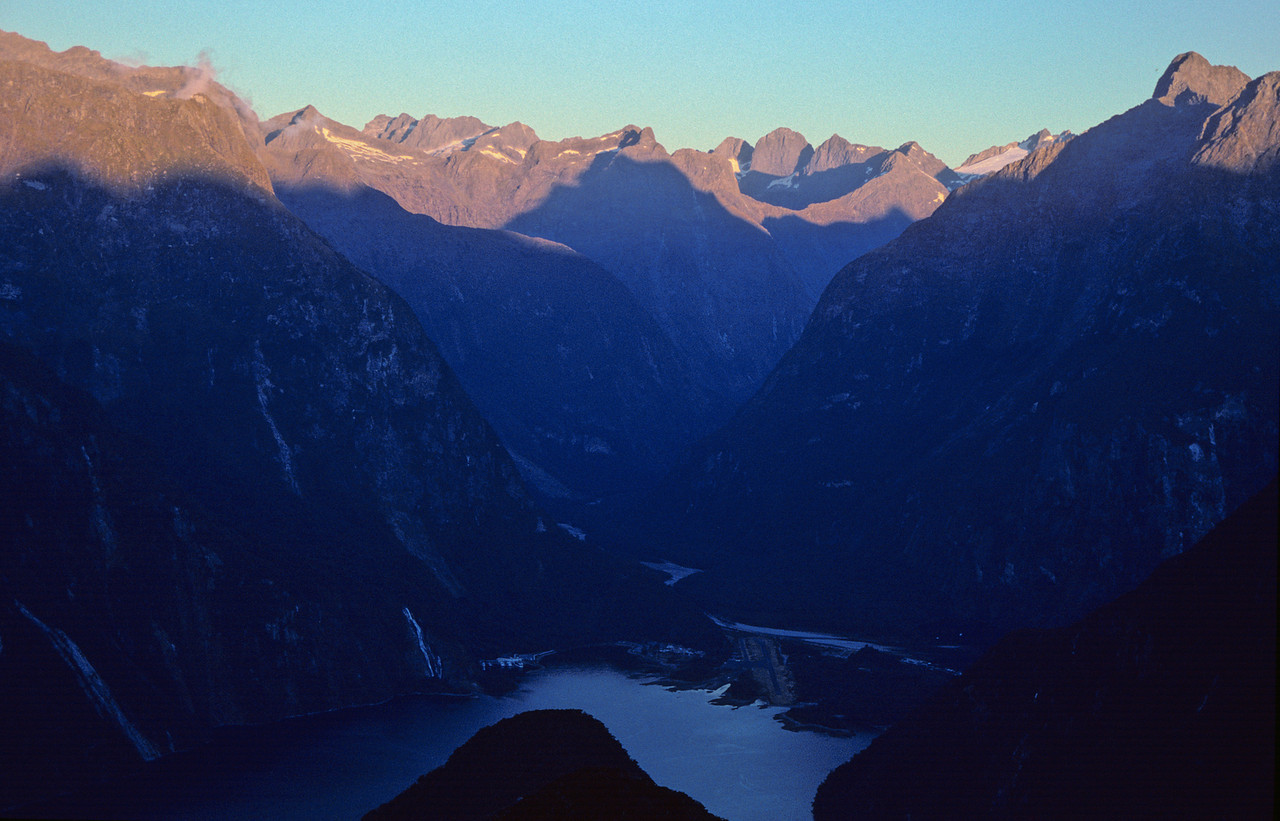 Last rays of sun in Milford Sound