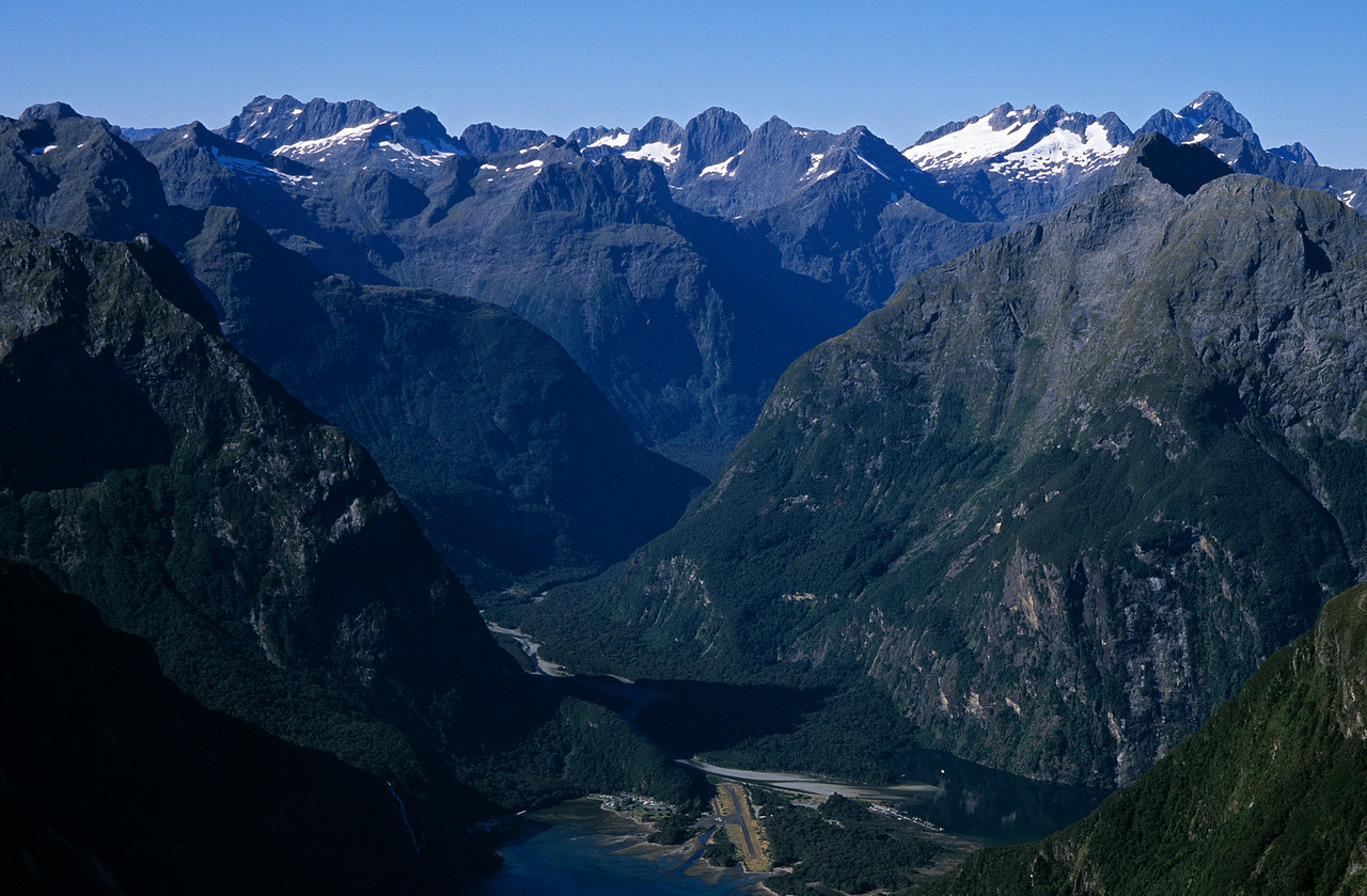 Looking into Milford Sound from the summit of Mitre Peak