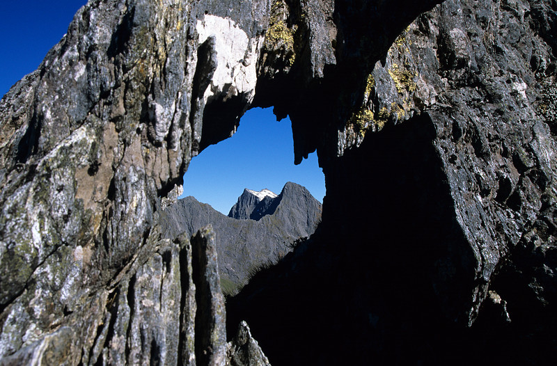Window in the south-east ridge of Mitre Peak