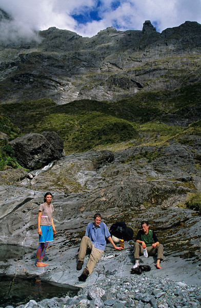 Esther, Sean, Emilia above the De Lambert Falls