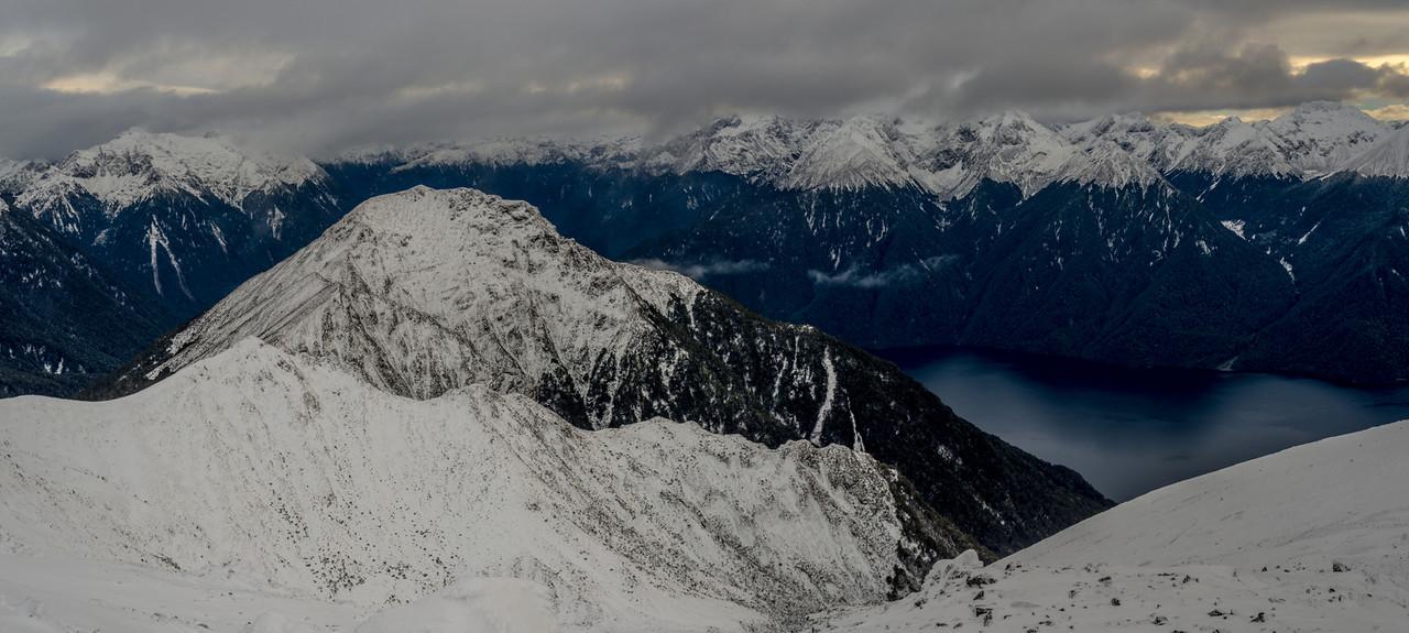 Panorama from Mt Luxmore: Forward Peak and Lake Te Anau