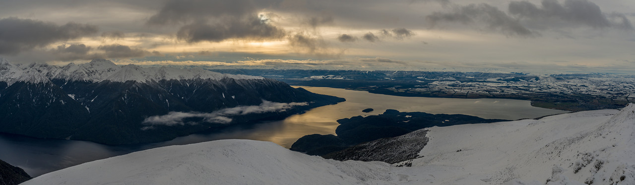 Panorama from Mt Luxmore: the Murchison Mountains and Lake Te Anau