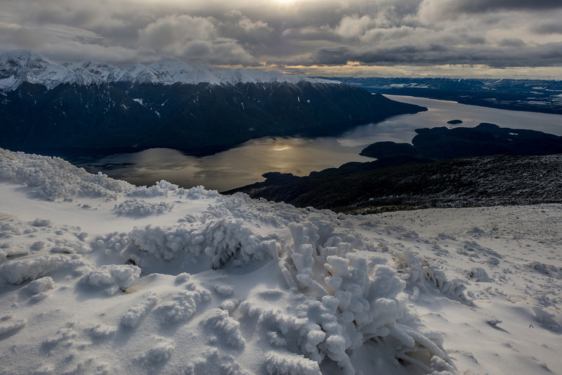 Ice formations on Mt Luxmore. Lake Te Anau below