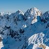 The South Face of Barrier Peak, Marian Peak, Sabre Peak and Adelaide Peak from Mount Lyttle. A frozen Lake Mariana is below Sabre Peak.