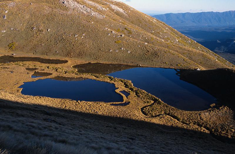 Tarns on Mt Titiroa's southern slopes