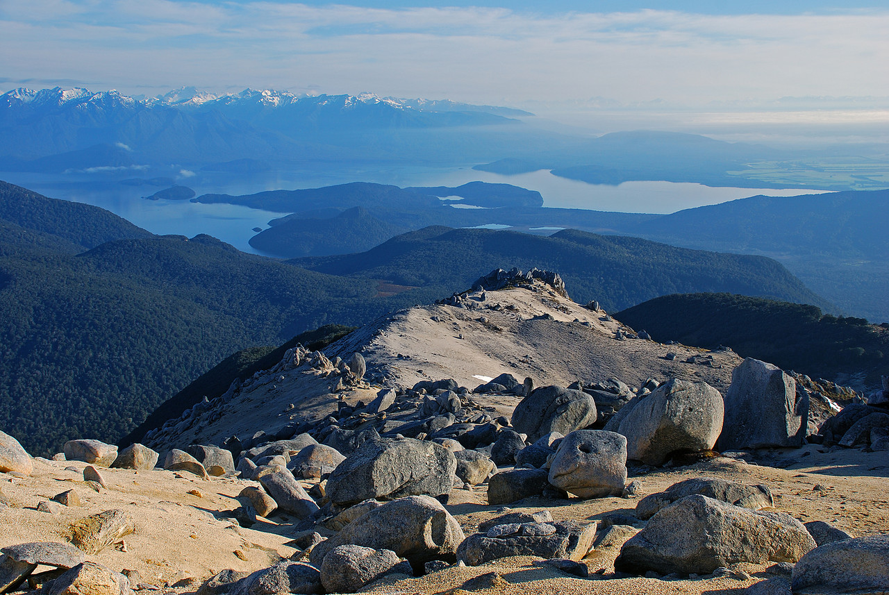 Looking down onto Lake Manapouri from the north ridge of Mount Titiroa.