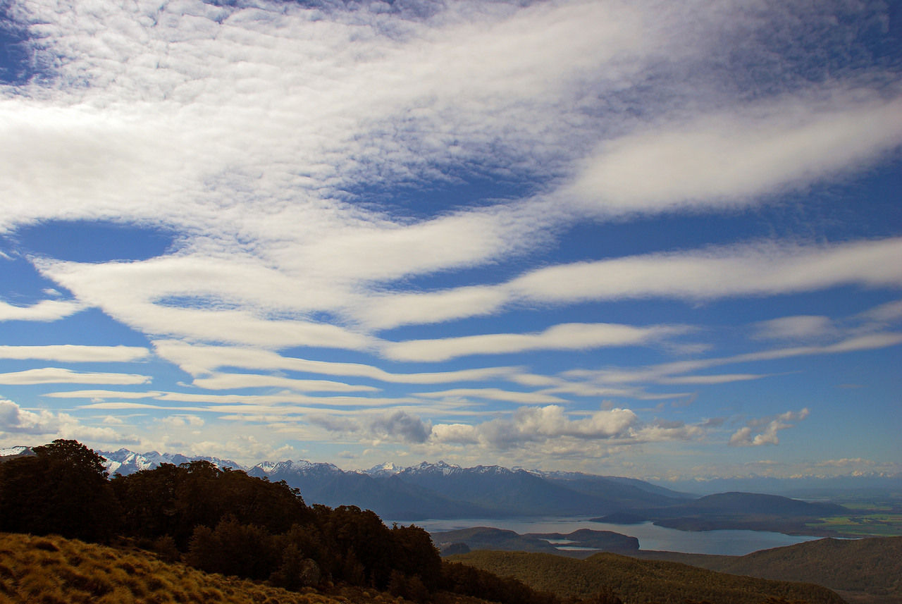 The sky over Lake Manapouri from the north ridge of Mount Titiroa
