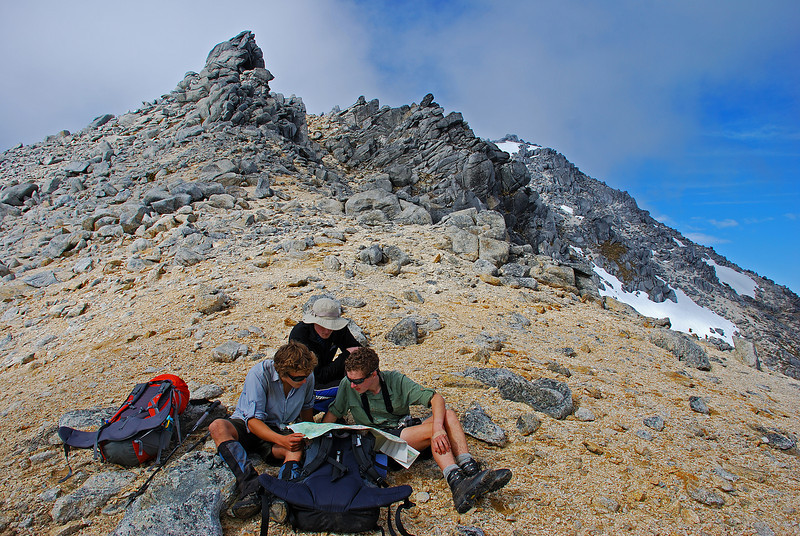 Map reading session on the north ridge of Mount Titiroa.