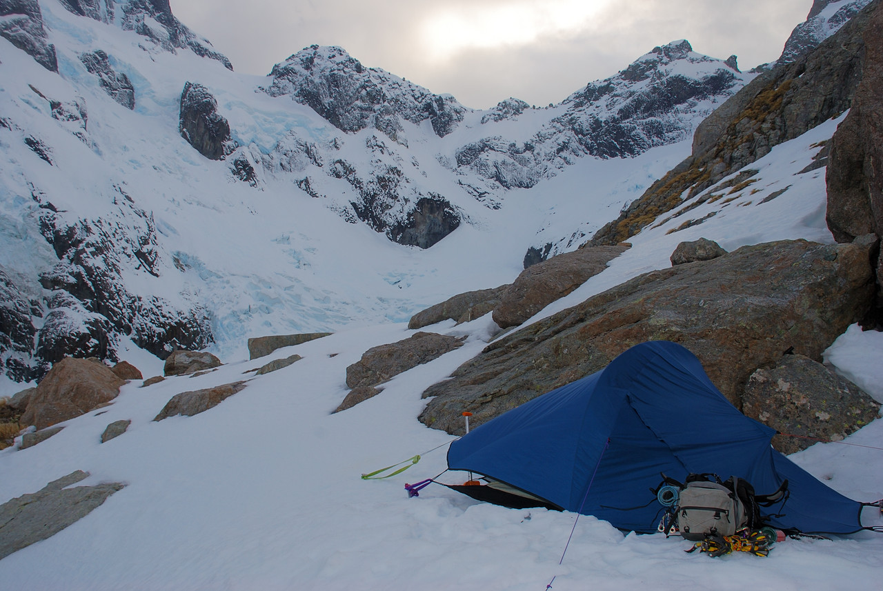 Campsite at the 'Rock of Discomfort', 200m below Turners Biv. Turner Pass above