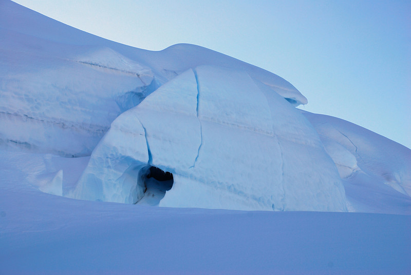 Natural igloo on the Madeline Glacier