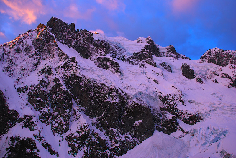 The south face of Mount Tutoko at dusk