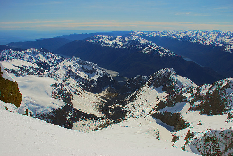 View into Stickup Creek and Lake Iceberg. The Skippers Range at centre image, between Lake McKerrow (left) and Lake Alabaster (right)