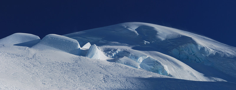 The ice cap near the top of Mount Tutoko's south-east ridge