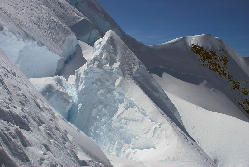 Back over the ice flake to get past the massive crevasse