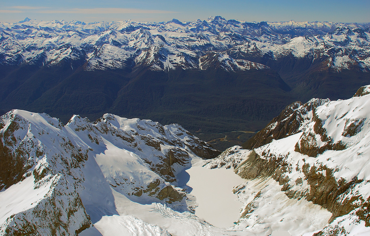 Donne Glacier Lake. Mount Aspiring and the Forbes Mountains above
