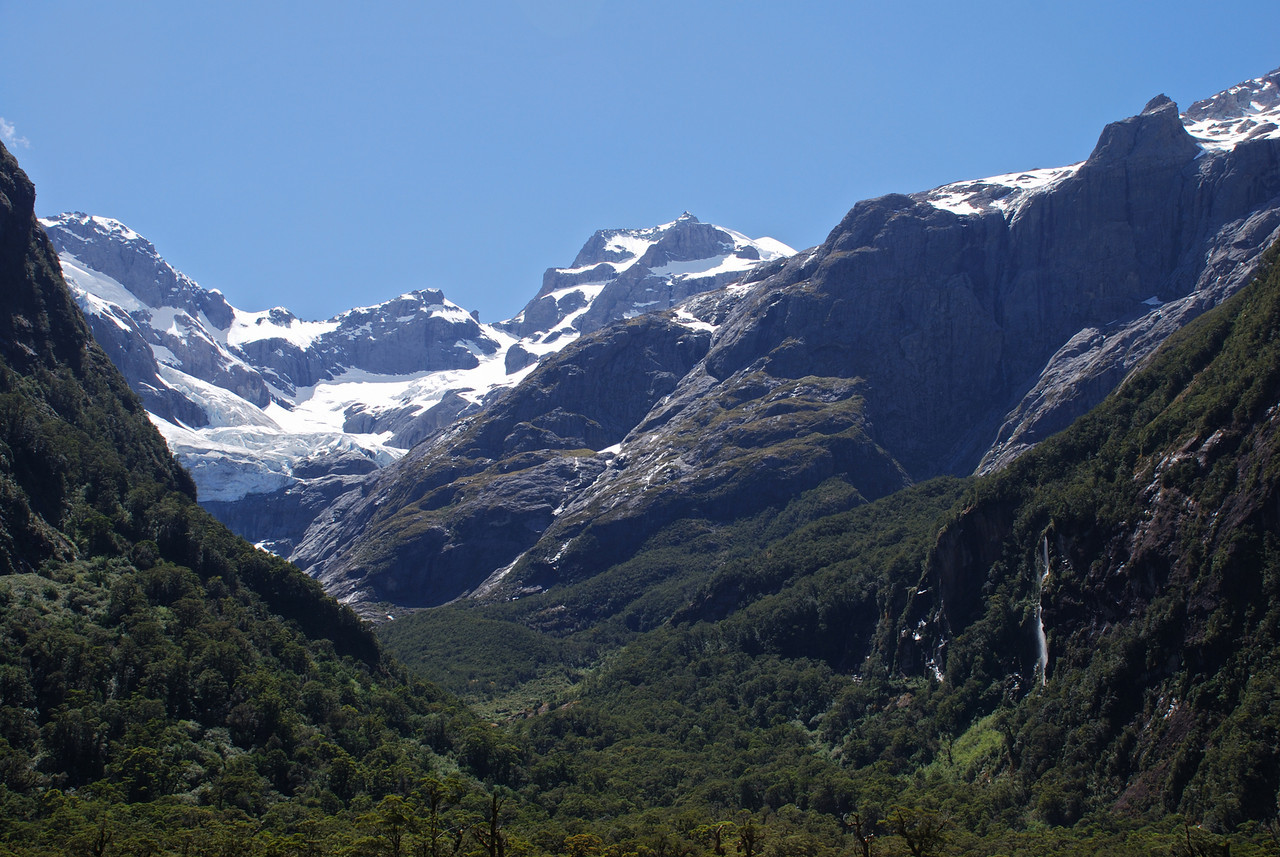 Looking into Leader Creek from the Tutoko valley floor. Mt Madeline at centre image