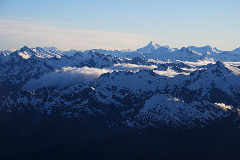Climax Peak and Destiny Peak (left) and Mt Aspiring from Mt Madeline