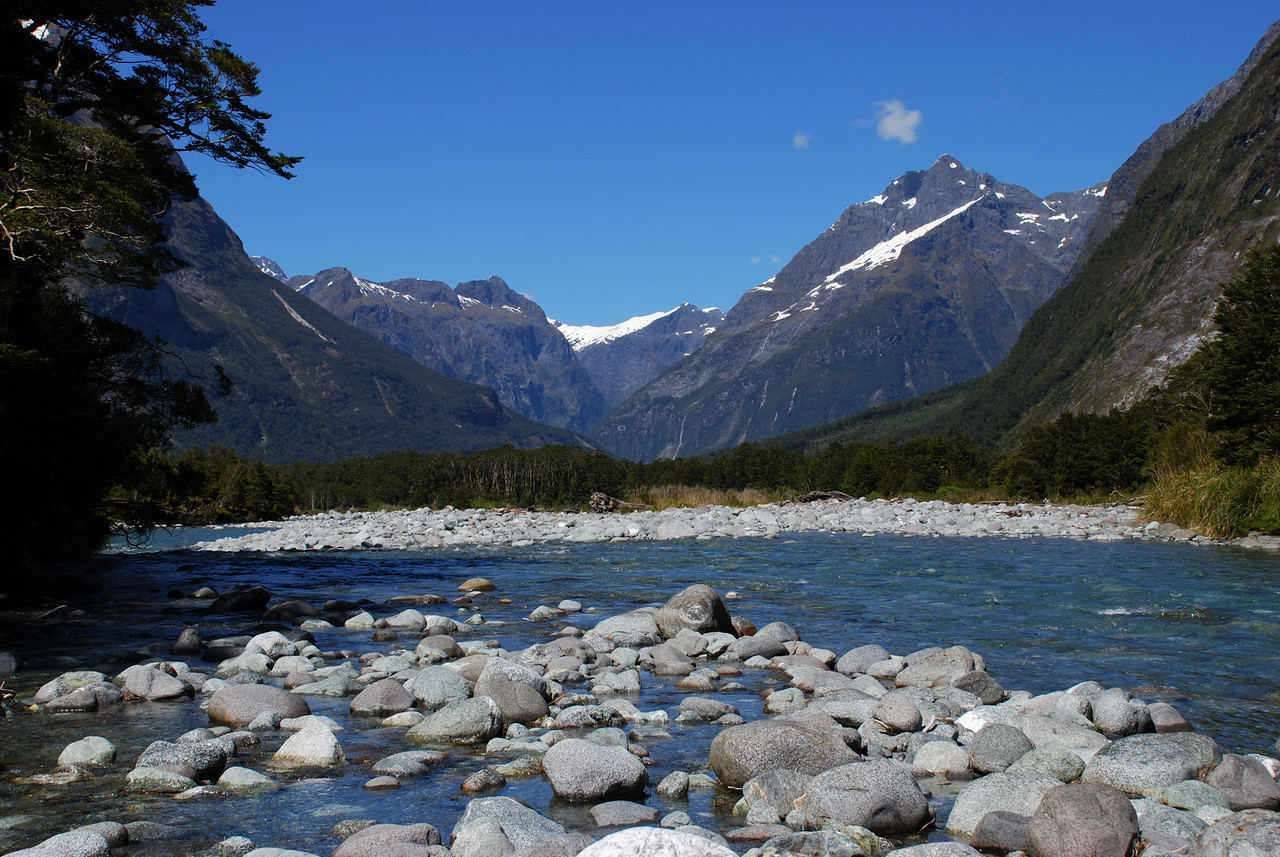Tutoko River, looking down valley and into the Upper Cleddau, framed by Mt Isolation (centre left) and Sheerdown Peak (right)