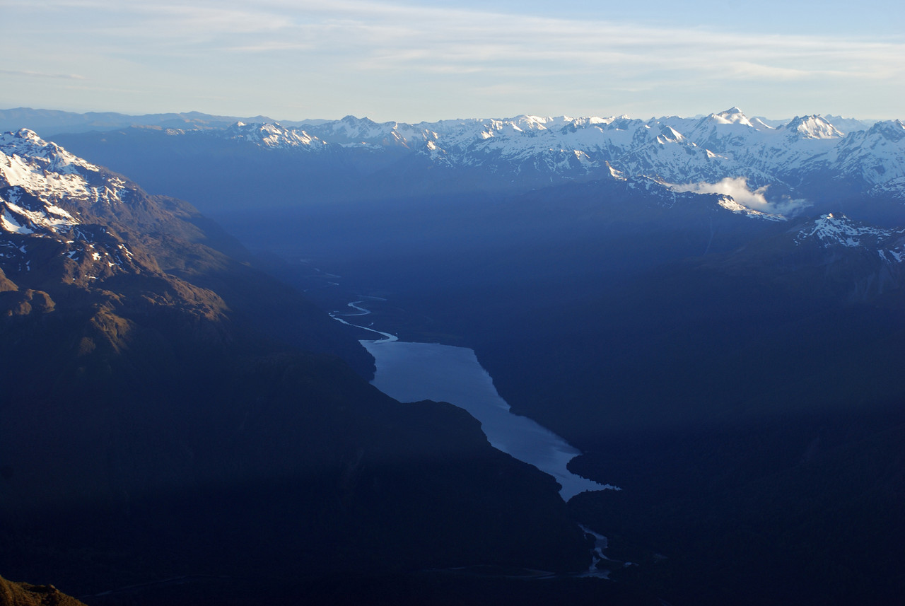 Lake Alabaster. Ark, Intervention Ridge and Forgotten River Col on the right-hand horizon