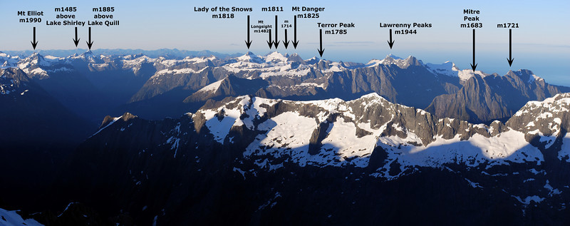 The peaks above the Milford Track from Mt Madeline