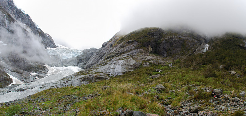 The Age Glacier at the head of Leader Creek. The route to Turner's Biv climbs the scrubby bluff at centre image, then gets lost in cloud. And so did we...