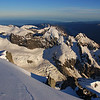 Ngapunatoru Plateau, Donne Glacier and Alice Peak from Mt Madeline. Lake McKerrow back right in the shade