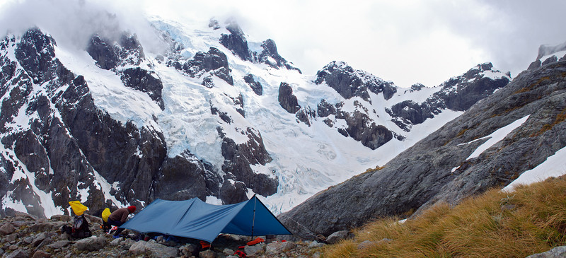 Our campsite just below Turner's Biv. The south face of Tutoko and Turner Pass behind