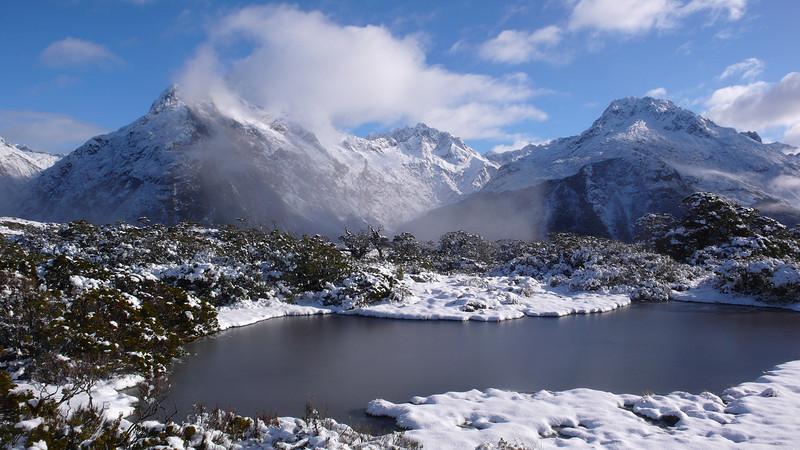 Tarns on Key Summit and Mt Christina at left