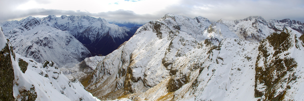 View into the Routeburn from the summit ridge of Ocean Peak. F-Knob is at centre image; Mt Xenicus, Somnus and Momus are on the left