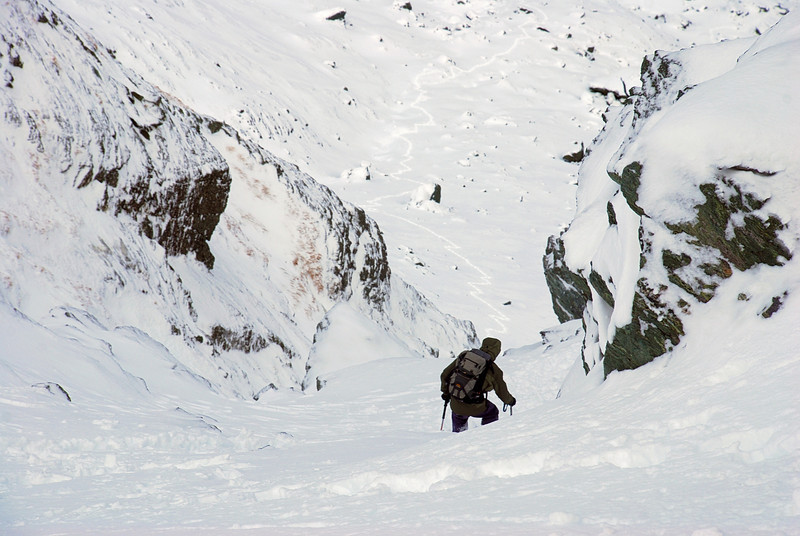 Jaz descending the Ocean Peak couloir