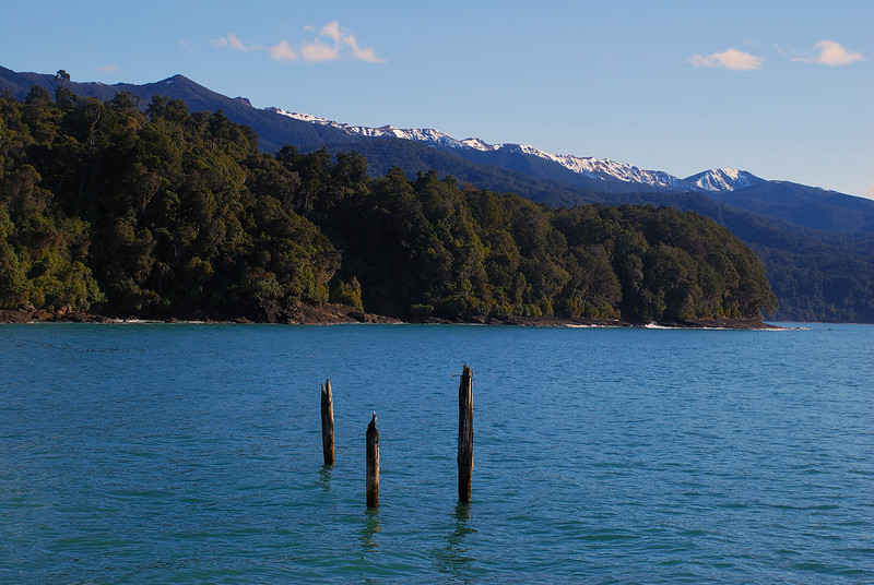 View of the Hump Ridge from the wharf at Port Craig Village