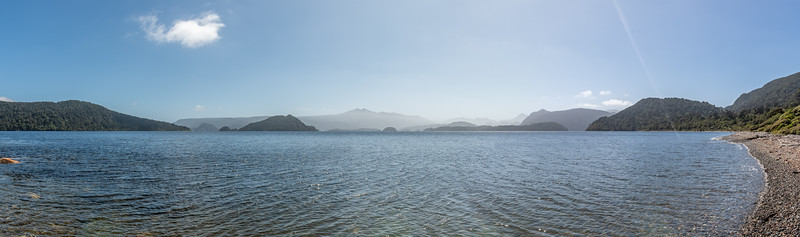 View into Preservation Inlet from the beach at Te Oneroa.