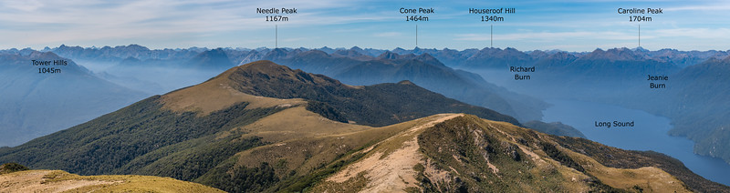 View north-east from Treble Mountain, looking into the Dark Cloud Range and Long Sound.